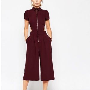 ASOS NWT Utility Shirt Culotte Jumpsuit Maroon 14